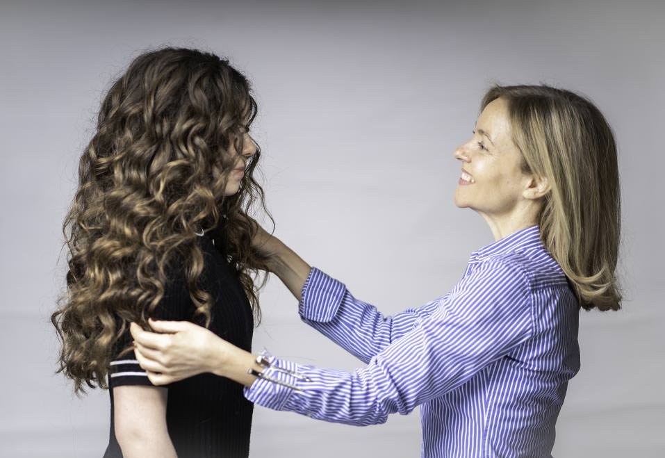 fiona, female hairstylist in london working on ladies hair style.